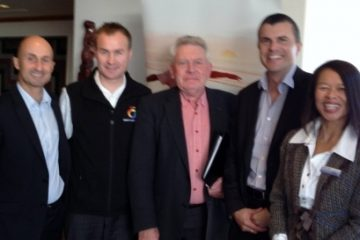 "(L-R) Scott Pearson, GM Destination Great Lake Taupo, Graeme Crossman, ""All Black"" great & Director Kiwifruit Country Tours & Rhys Arrowsmith, GM Tourism Bay of Plenty @ Auckland Airport's ""Let's Get Ready"" China Workshops  Rotorua, NZ in 2012"
