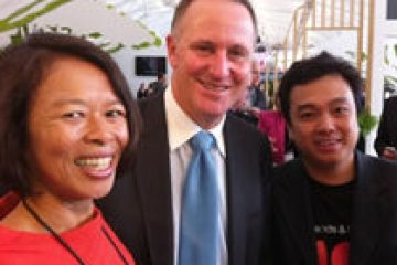 With John Key, Prime Minister New Zealand & Tourism Minister & Peppy Adi-Purnomo, Aeronautical Development & Alliances Manager for Auckland Airport