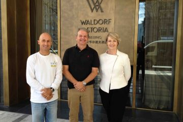 With Andrew Brodie from Brisbane Airport on business trip to China in 2014.  Marlene Poynder GM of Waldorf Astoria Beijing at that time was a wonderful host as always.